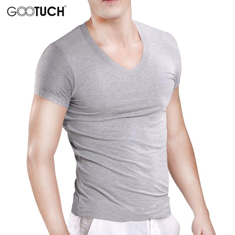 Мужская футболка размера плюс с коротким рукавом 5XL 6XL облегающая Базовая рубашка мужская футболка из модала с v-образным вырезом Hombre затяги...