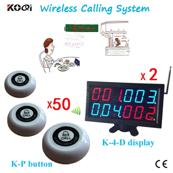 Wireless Calling Device Free Shipping Cost Accept Any Logo(2pcs Screen Display Receiver+50pcs Button Transmitter)