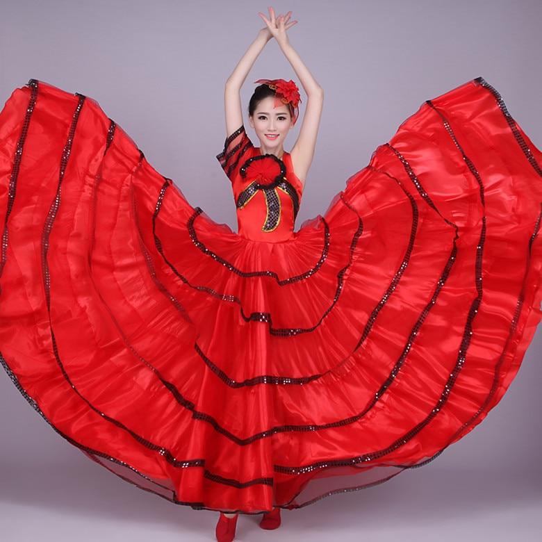 فستان رقص مصارعة الثيران الإسباني للنساء ، تنورة كاملة ، زي أداء حديث ، مرحلة ، فستان أرجوحة كبير ، ملابس H553