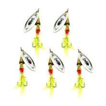 HENGJIA dur métal spinnerbaits lame paillettes spinner cuillères poisson-chat pesca pêche sattaque 7 CM 6G 6 # crochets