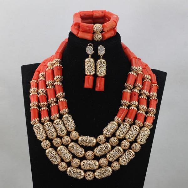 Nuevo conjunto de Joyas de Coral de boda Africana accesorios de oro añadir cuentas de Coral collar de novia conjuntos de joyas 4 capas envío gratis CJ759