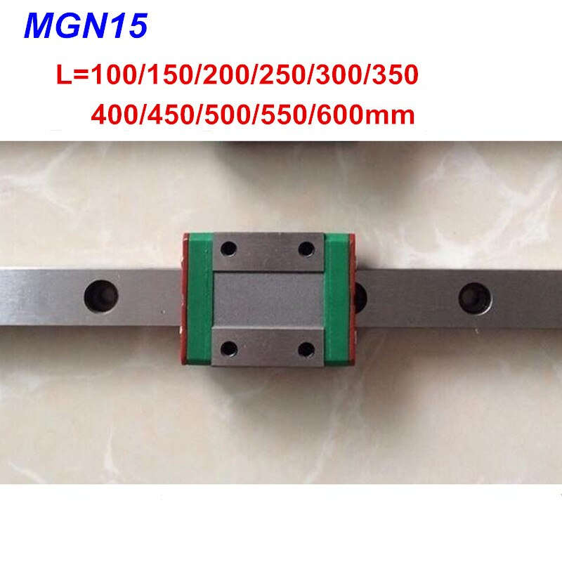 15mm mini guía lineal MGN15 100, 150, 200, 250, 300, 350, 400, 450, 500, 550, 600mm + MGN15C o bloque MGN15H para piezas CNC de impresora 3d