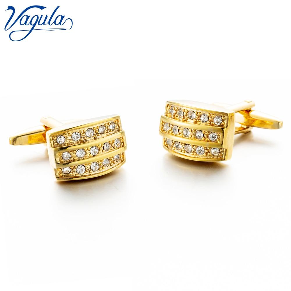 Gemelos VAGULA, Marca Top de lujo para fiesta, regalo de boda, camisa de traje, botón de cristal, Gemelos de color dorado, Gemelos 321
