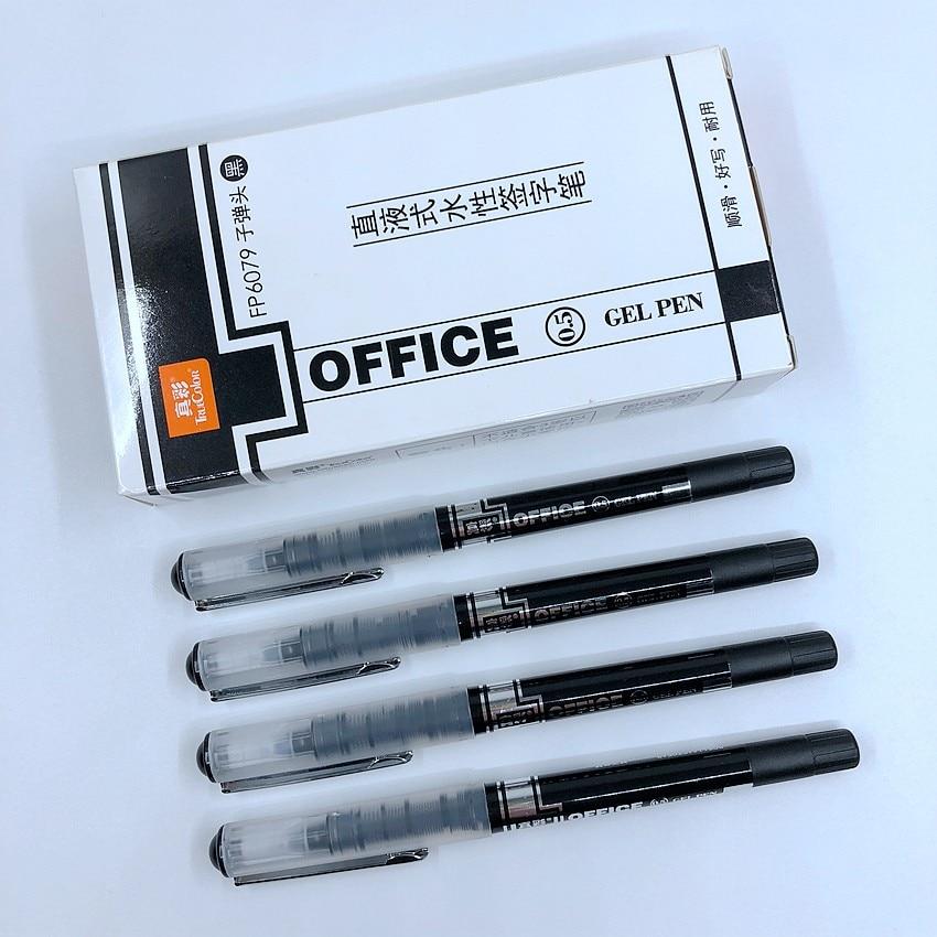 (12 unids/lote) bolígrafo de tinta de gel negro TrueColor de alta calidad 0,5mm, bolígrafos líquidos para escuela y oficina FP6079