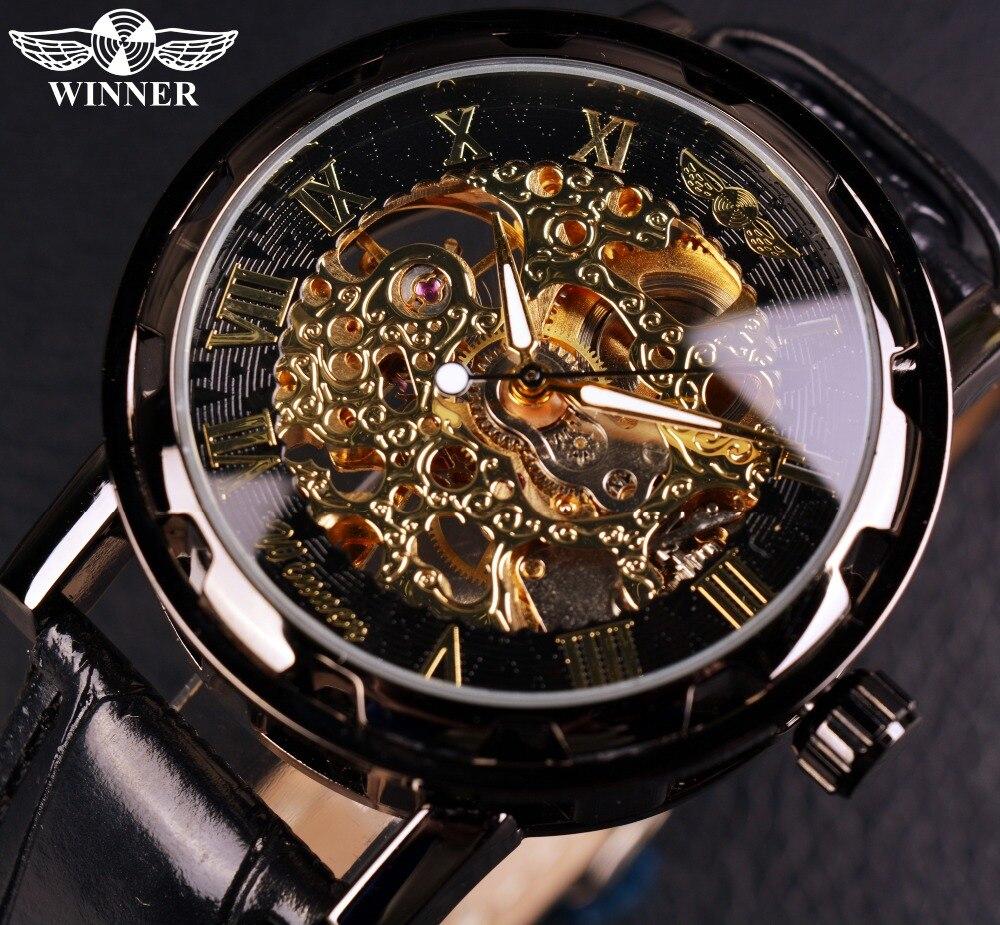 Reloj de hombre Winner de oro negro, relojes para hombre de esqueleto, relojes de pulsera de cuero Montre de lujo, reloj mecánico para hombre