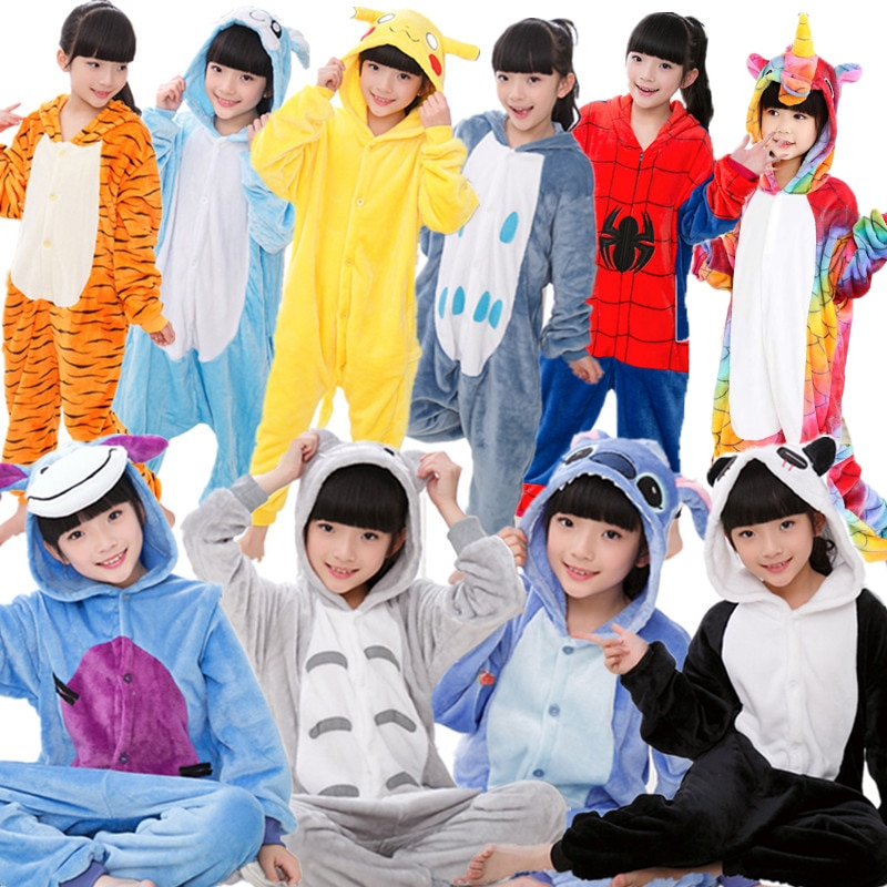 Niños Kigurumi niños pijama invierno franela Animal pijamas una pieza conejo en punto Totoro Panda Cosplay bebé niño niña Pijamas