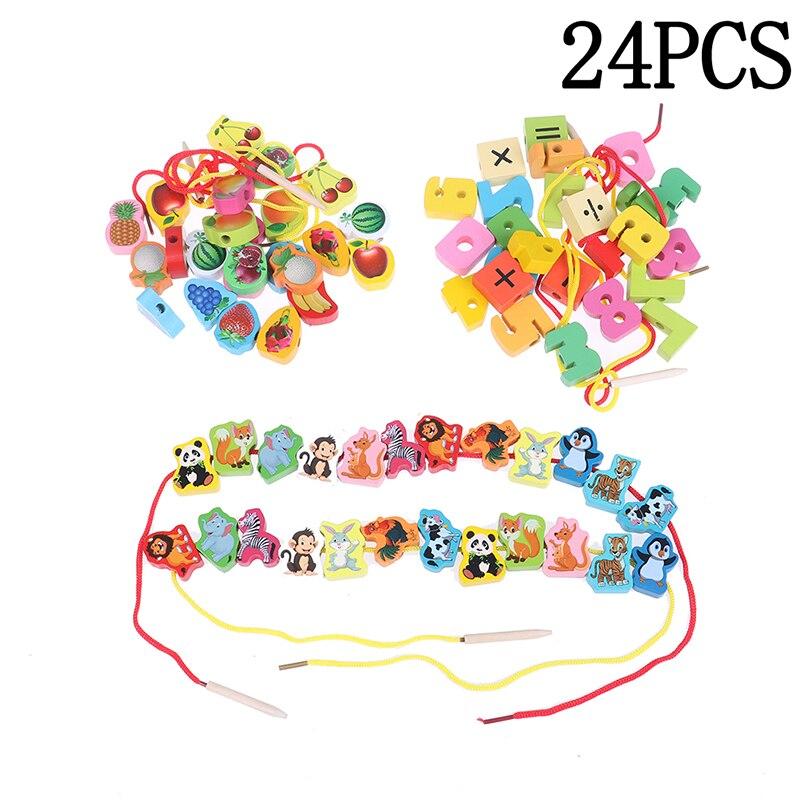 Novos brinquedos de madeira do bebê diy brinquedo dos desenhos animados frutas animais amarrando rosqueamento contas de madeira brinquedo educativo para crianças