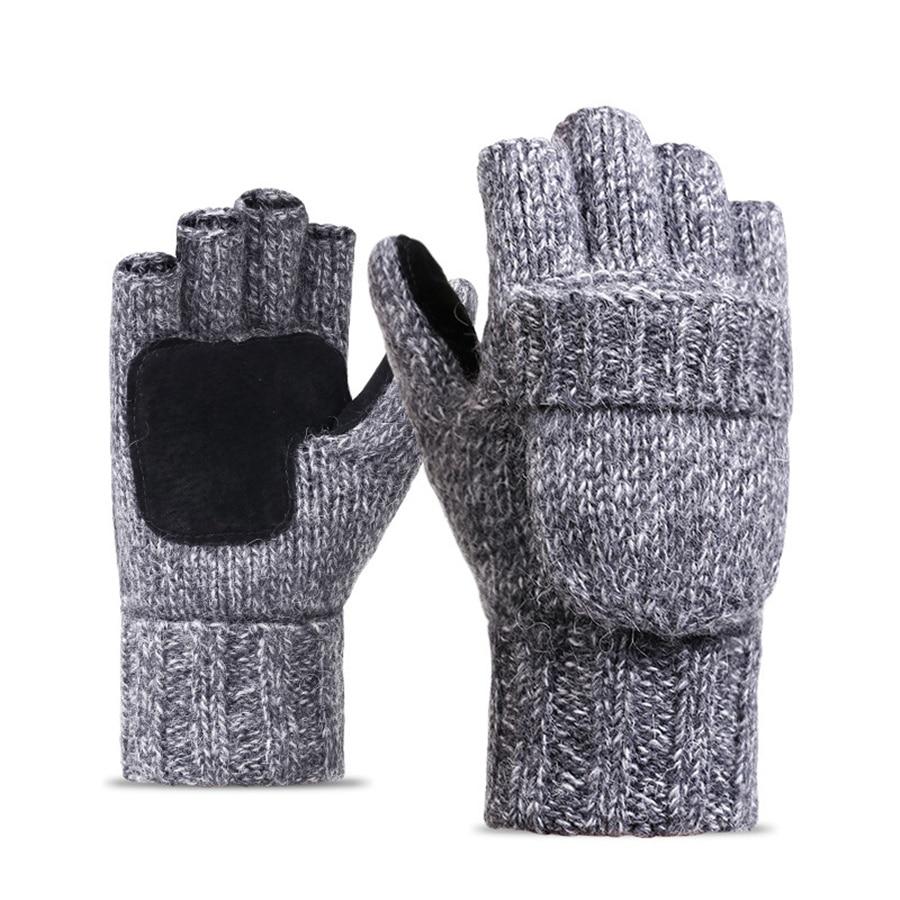 Мужские перчатки без пальцев, мужские шерстяные зимние теплые варежки с открытыми пальцами, вязаные теплые перчатки с открытыми пальцами в...