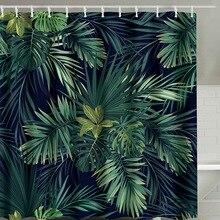 Rideau de douche moderne en Polyester   Impression de feuilles vertes, feuille naturelle, rideaux de salle de bains 180x180cm