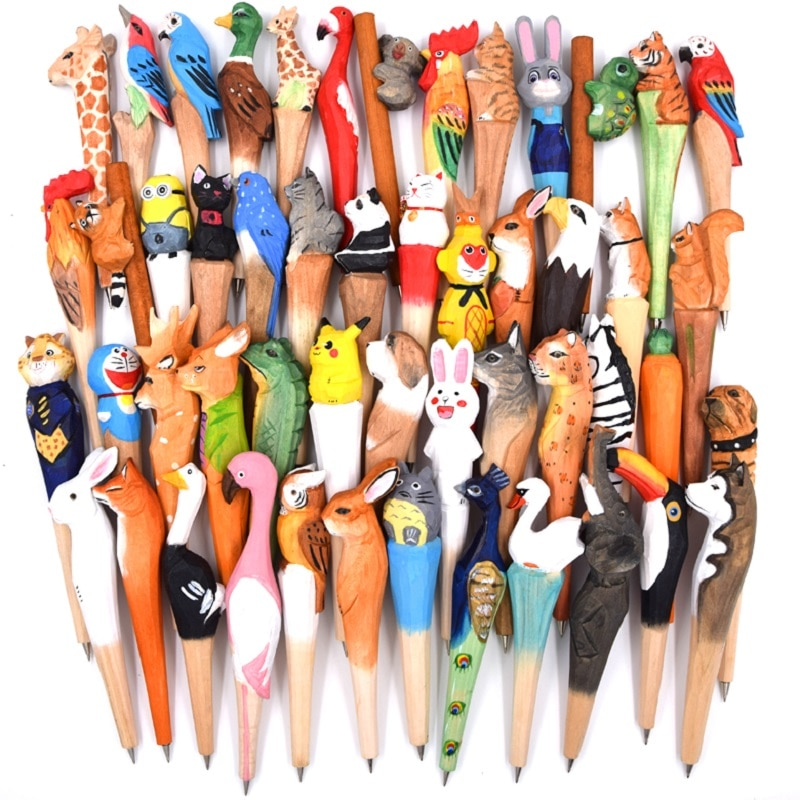 Wood craft pen classical hot-selling wood animal pen hand-carved wood pen creative stationery ballpoint pen 10pcs/lot