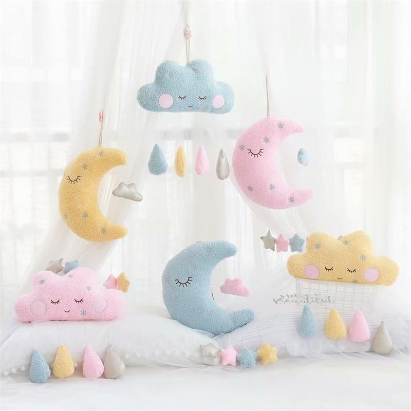 Moon Stars Clouds Rain Ornaments Plush Wall Stuff Toys Plush Pillow Small Pendant Home Decoration Valentine Christmas Gifts
