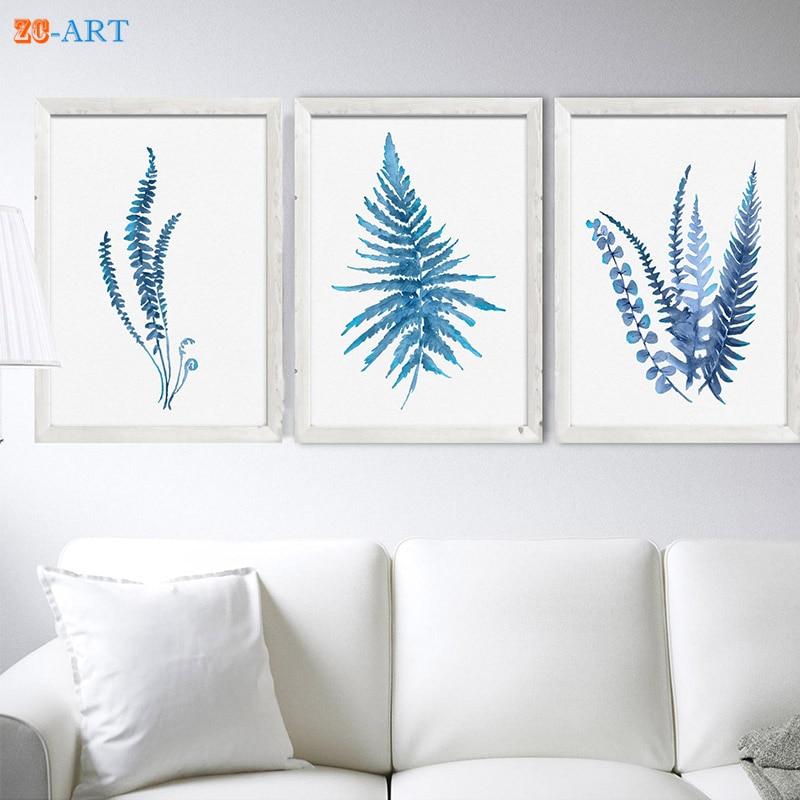 Helecho acuarela pintura helecho arte impresión azul decoración del hogar minimalista arte cocina decoración lienzo hojas botánico Póster
