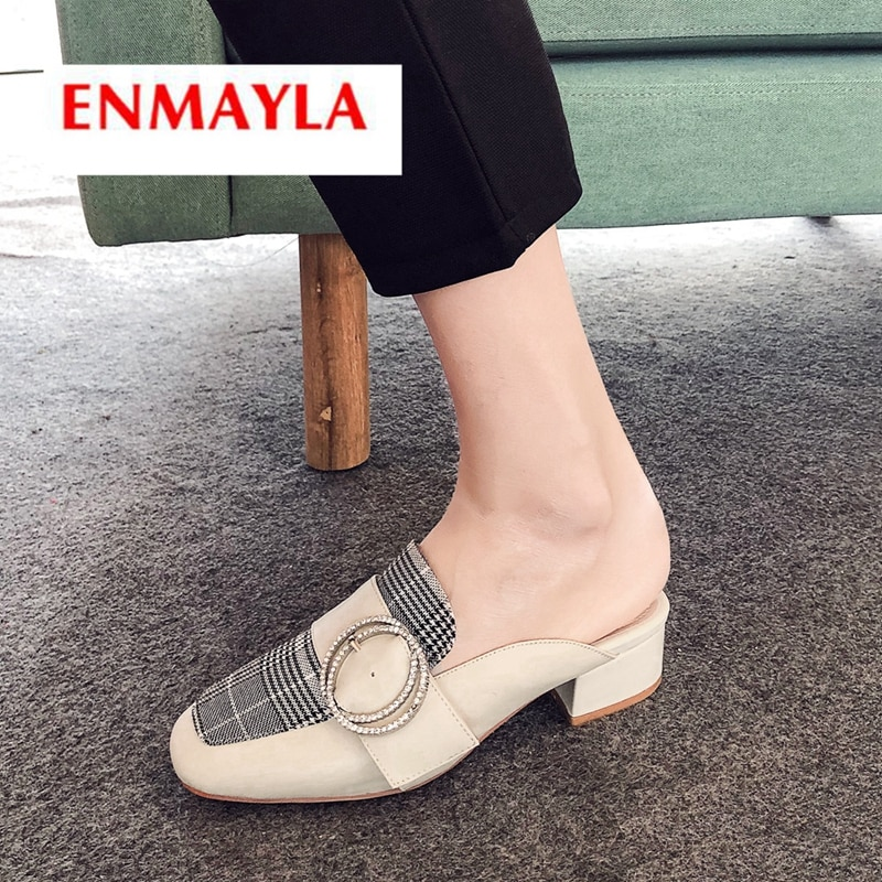 ENMAYLA 2019 New Arrival basic casual women fashion slippers crystal slip-on Plaid Spring/Autumn  wo