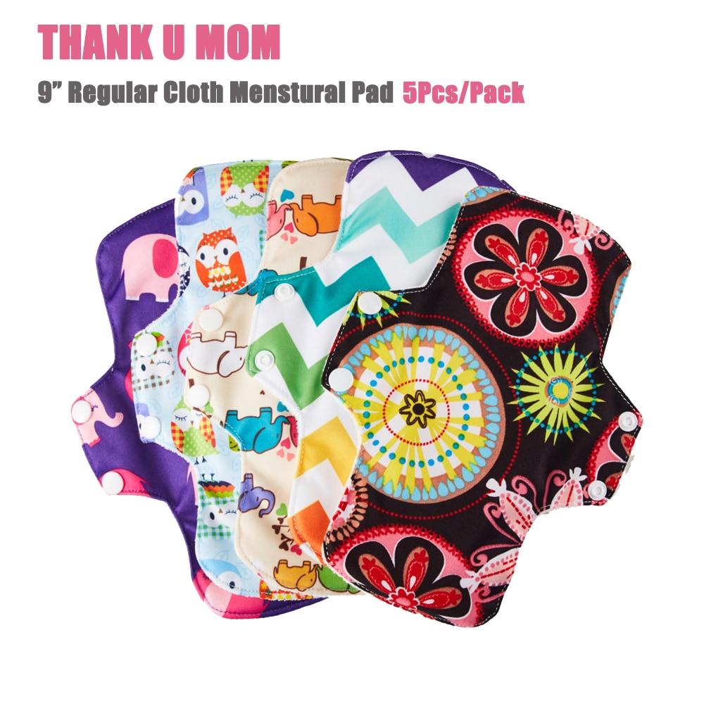 "5 uds U Pick 9 ""paño Regular de fibra de bambú almohadilla Menstrual toalla sanitaria trazador de líneas Menstrual transpirable lavable Sanitary Pad"
