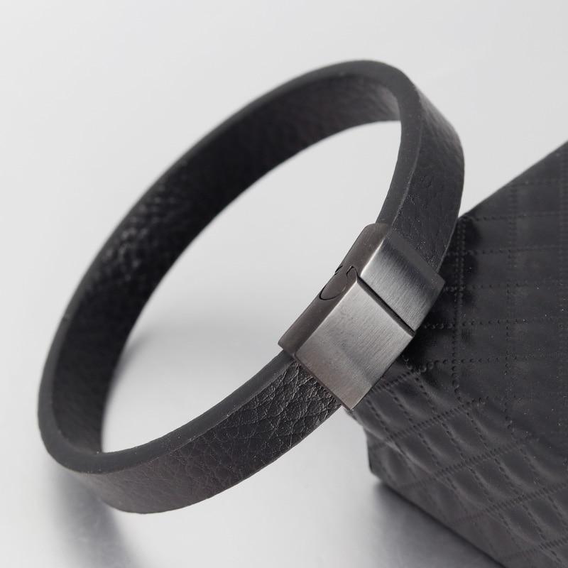 Echte Geflochtene Leder Armband für Männer Frauen Edelstahl Magnetische Schnalle Charme Manschette Armreif Geschenk Männer Schmuck