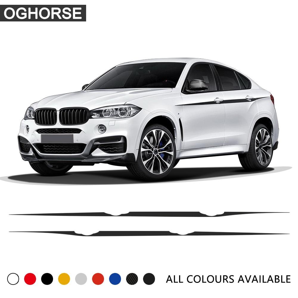 Автомобильный Стайлинг, наклейка на талию, s M, производительность, акцент, полоски для BMW X5 F15 F85 X6 M F16 F86, углеродная виниловая графическая нак...