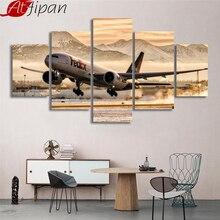 HD imprimé photos encadré toile salon mur Art 5 pièces avion décolle peintures avion aéroport affiche décor à la maison