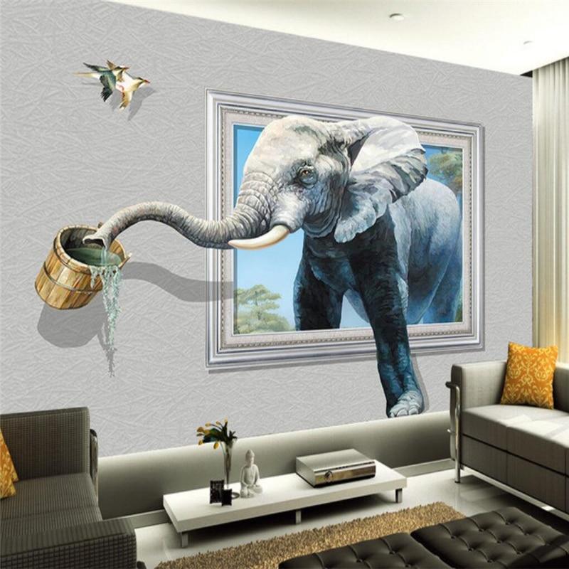 Papel pintado beibehang Mural personalizado cualquier tamaño 3D elefante Fresco Sala sofá dormitorio TV fondo de pared