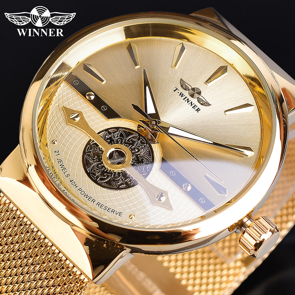 Winner-ساعات رجالية ذهبية ، ساعة يد أوتوماتيكية للأعمال ، هيكل عظمي ، شبكة تناظرية بشريط فولاذي ، ذاتية الغلق ، ميكانيكية