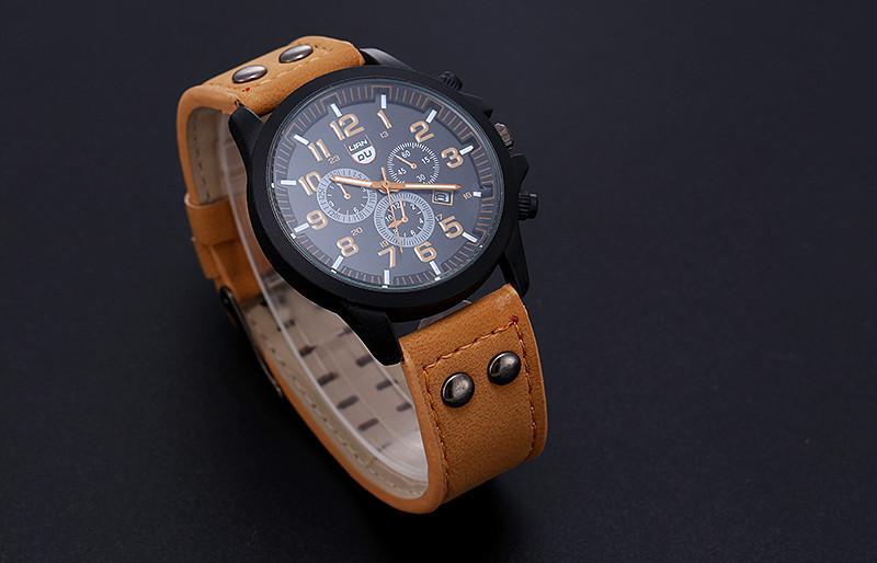 2016 New Business Quartz watch Men sport Zegarki Wojskowe Mężczyźni Corium Skórzanym Paskiem armii zegarek zegar godziny Kompletna Kalendarz 10
