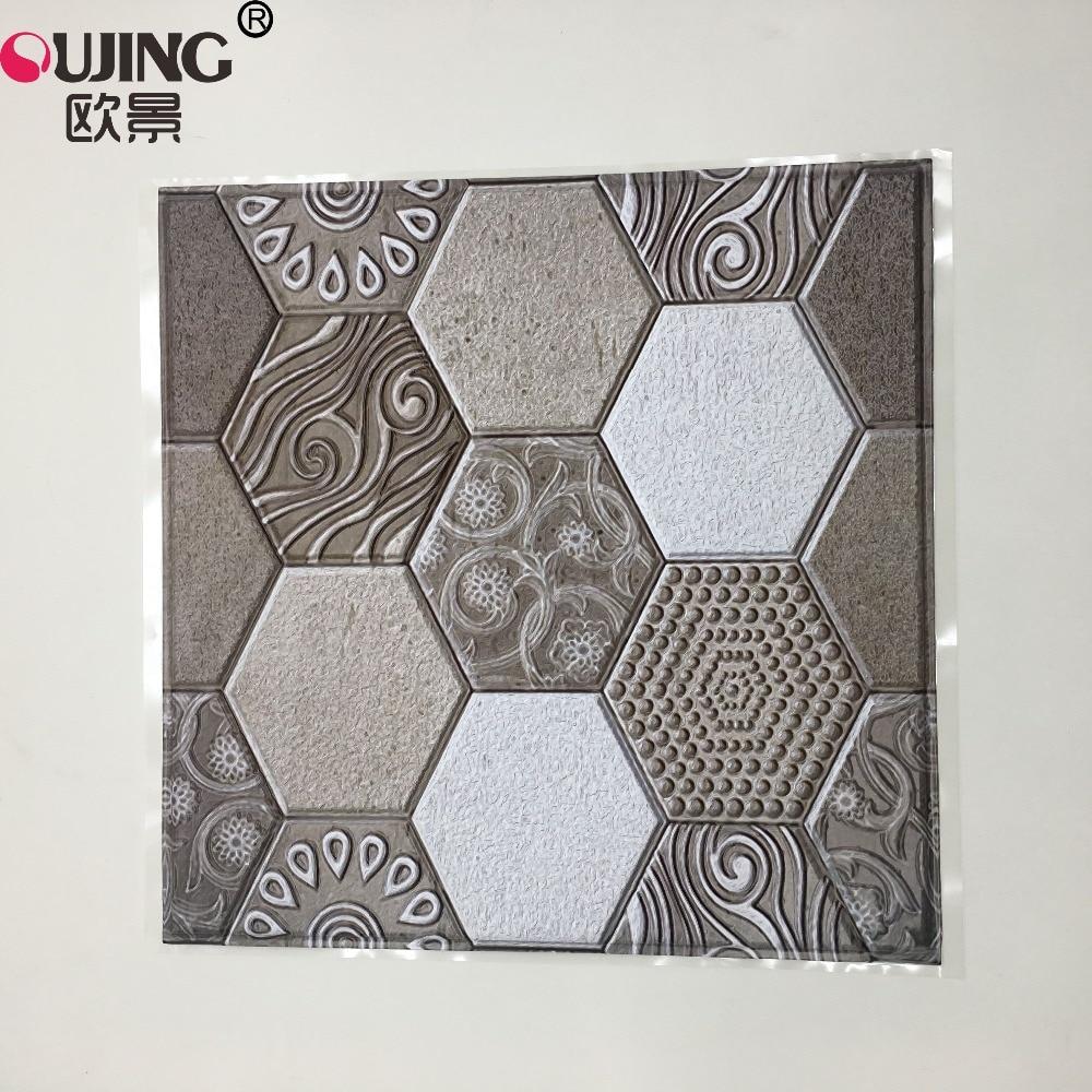 3D Tricolor Pattern Emboss Retro Tiles Wall Sticker Kitchen Shower Room Bedroom Waist Line Tile Wallpaper DIY Vinyl Art Mural