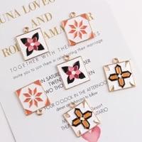 diy korean gold enamel geometric flower charms alloy metal jewelry earrings bracelet necklace pendant square pattern accessories