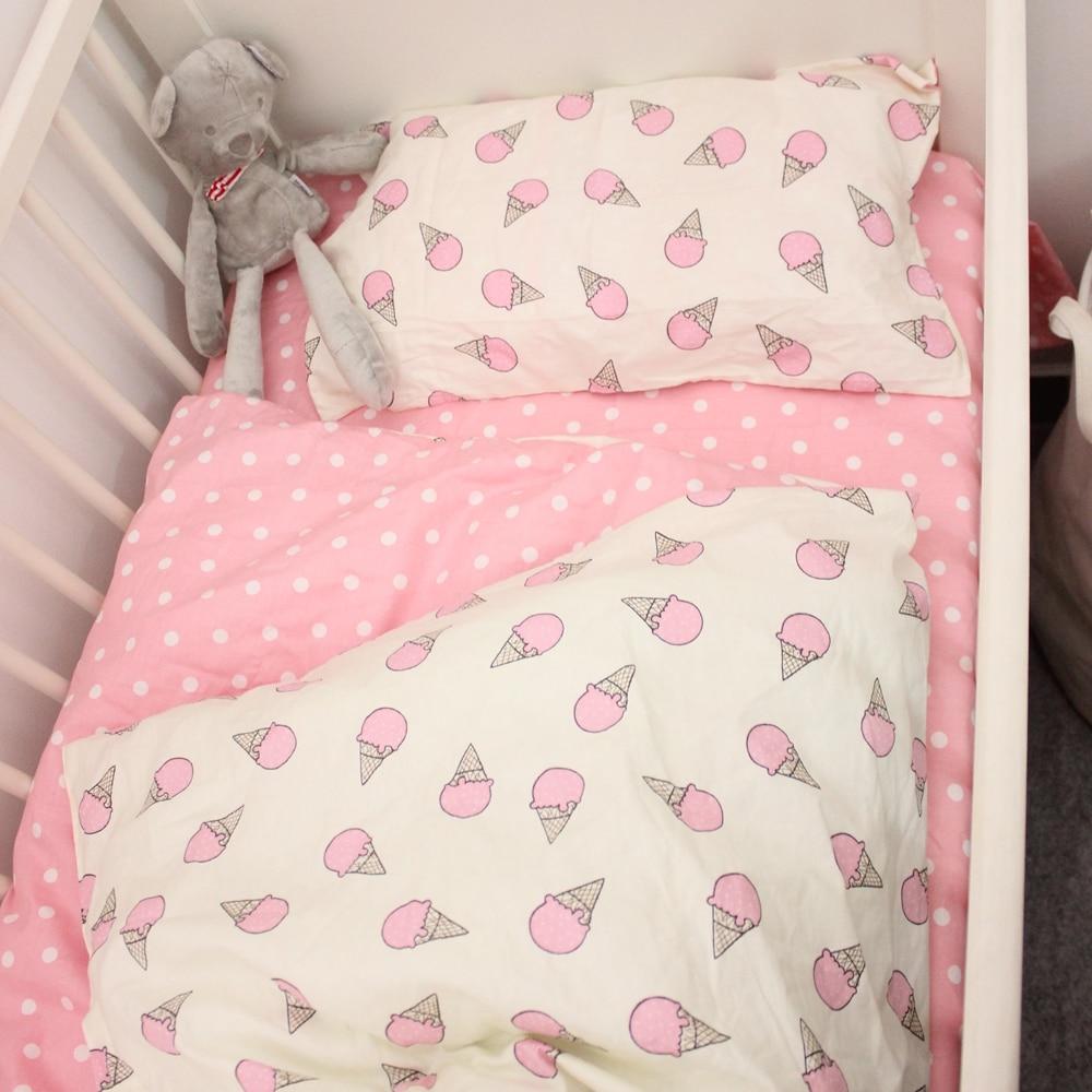 Crib bedding set 3pcs 1 set 100% cotton baby bedding set Penguin and Stripe design blue and pink for boys girls bed