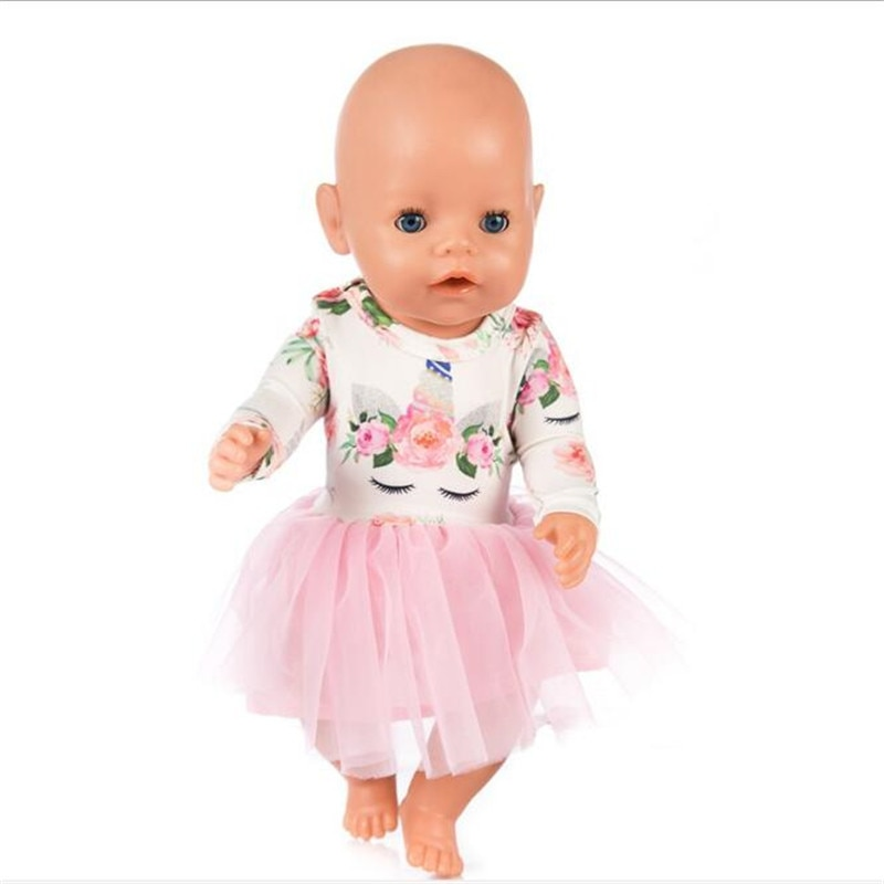 Hot Sale Doll Clothes Born Baby Fit 18 inch 40-43cm Unicorn dress Doll Accessories Clothes For Baby