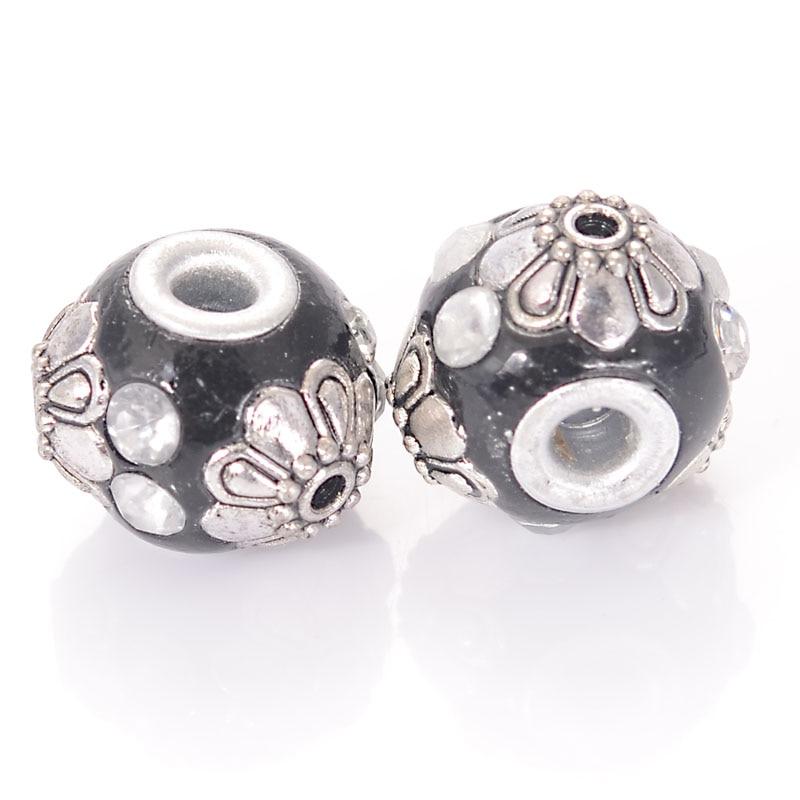 10 Uds hecho a mano Indonesia sueltas elegante joyería pulsera Bijoux espaciador cuentas de aleación de diamantes de imitación de Color plata, Metal