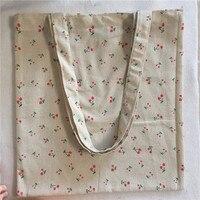 Многоразовая сумка YILE L023, сумка-тоут из хлопка и льна для покупок, Экологически чистая, с принтом красной вишни