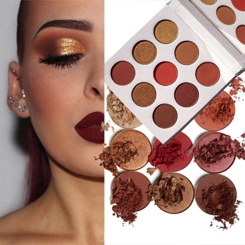 9 colores paleta de sombra de ojos brillo Natural mate sombra de ojos en polvo marca maquillaje profesional para ojos paleta maquillaje