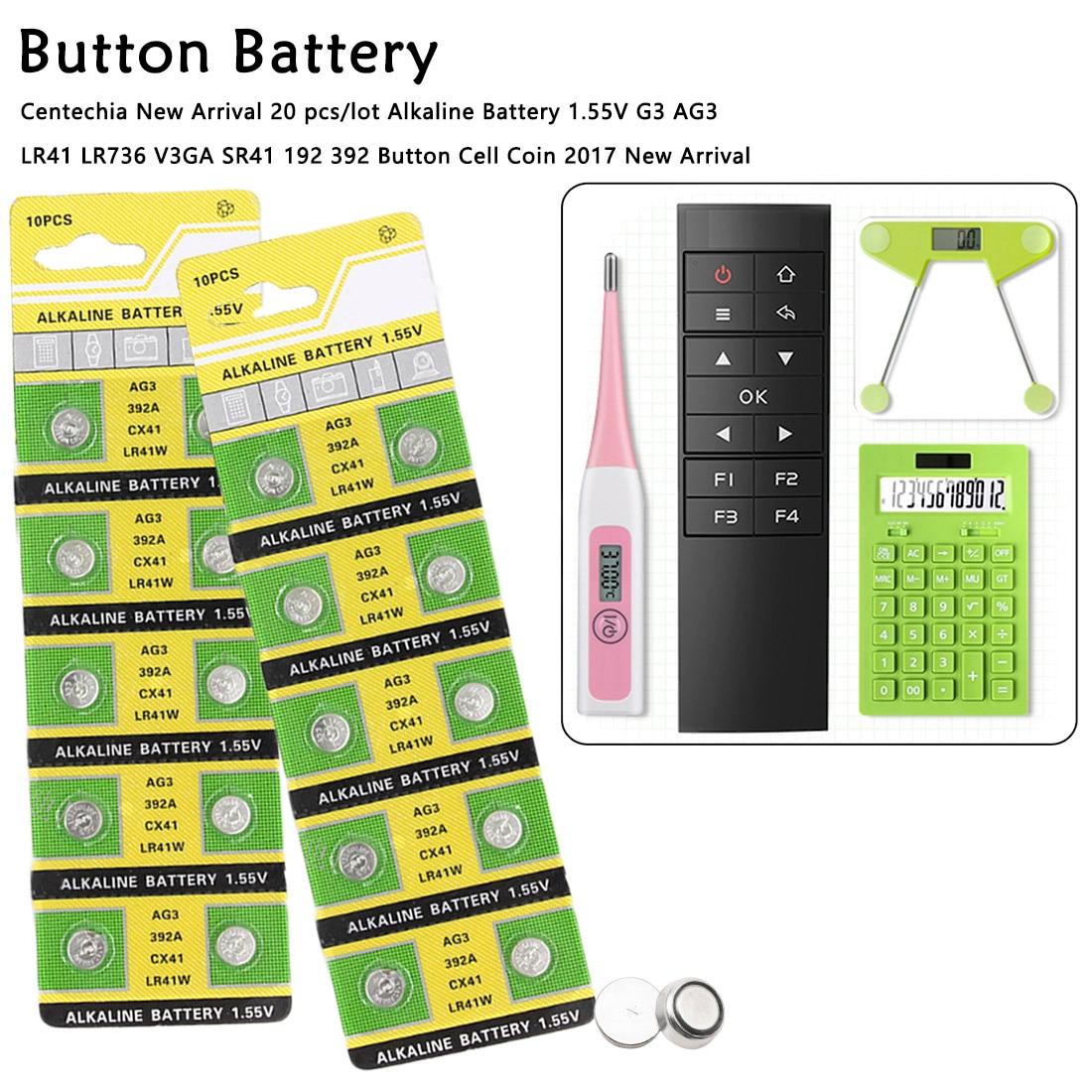 1,5 V AG3 20 unids/lote alcalina de la batería de 1,55 V G3 AG3 LR41 LR736 V3GA SR41 192 de litio 392 pila de botón batería para cámara