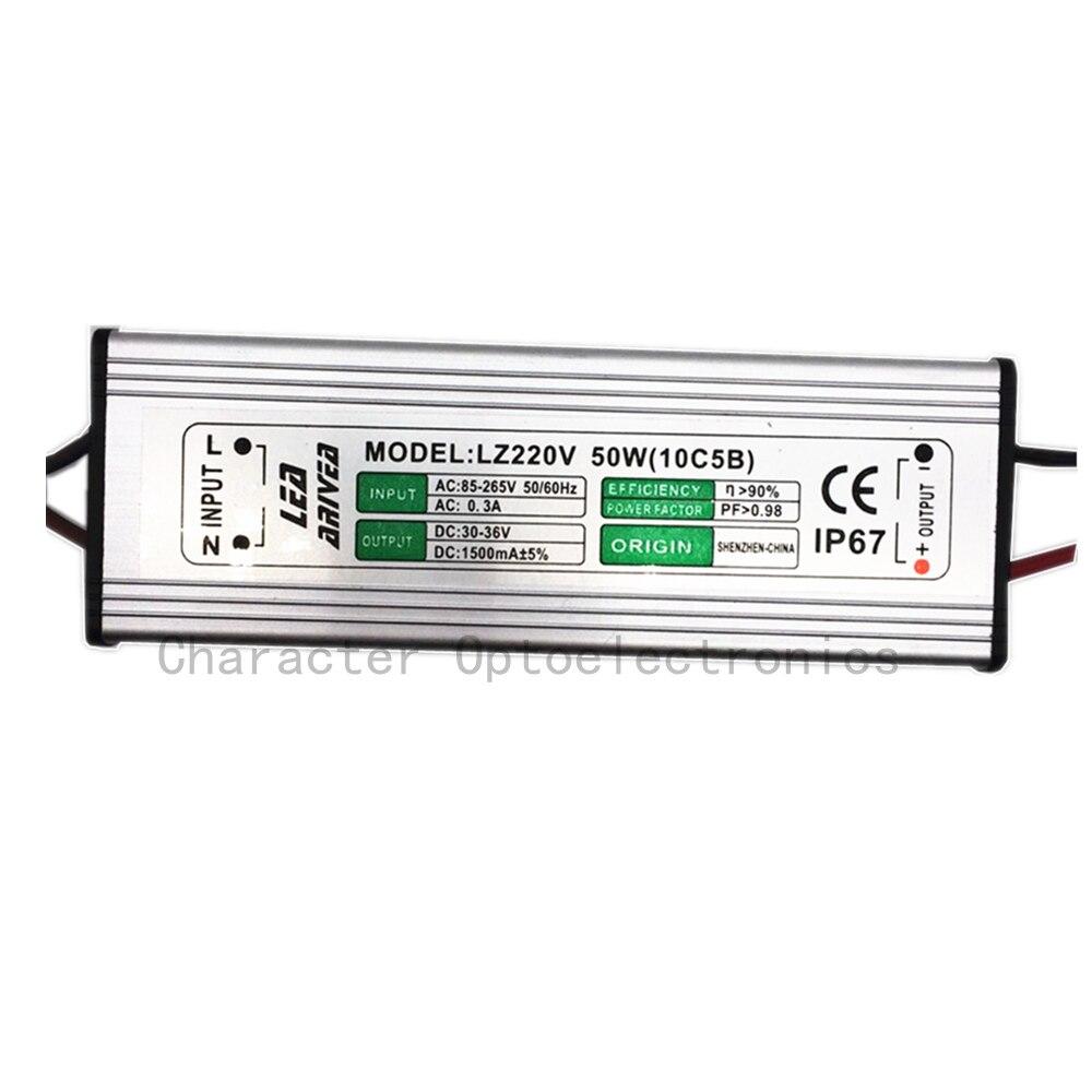 10 piezas 50 W LED controlador de 1500mA 30-36 V mazorca de alta potencia LED Luz de inundación conductor IP67 LED controlador de reflector Led de fuente de alimentación