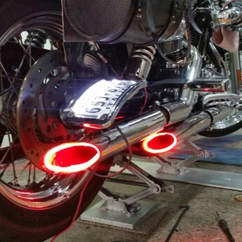 1 комплект, светодиодный светильник для мотоцикла, красная выхлопная труба для мотоцикла, предупреждающие индикаторы стрельбы, скутер, приспособление, торчащий, термостойкий светильник