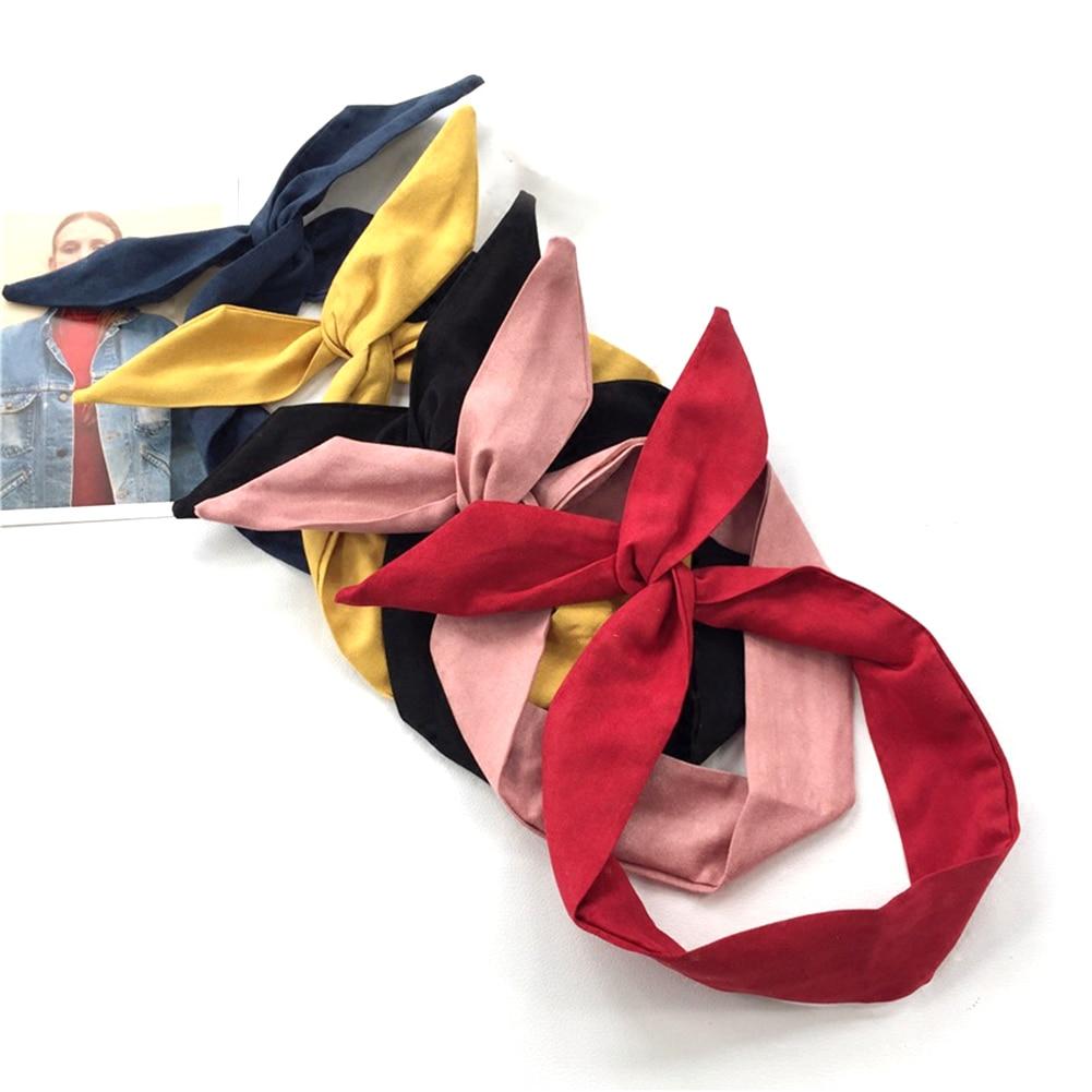 1 шт. корейские замшевые Ретро однотонные повязки для волос с заячьими ушками крест ободок с бантиком металлический провод шарф повязка на голову аксессуары для волос