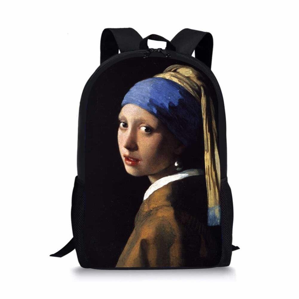 Famoso monet van gogh pintura a óleo mochila de viagem dos homens das mulheres arte poliéster meninos meninas livro personalizado mochila escolar dropship