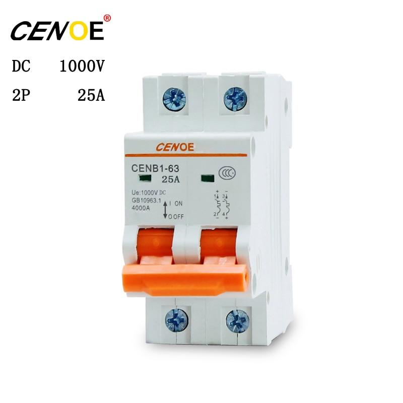 2018 dc interruptor solar controlador de circuito 2P 1000V 25A disyuntor en miniatura para la generación de energía solar fotovoltaica global