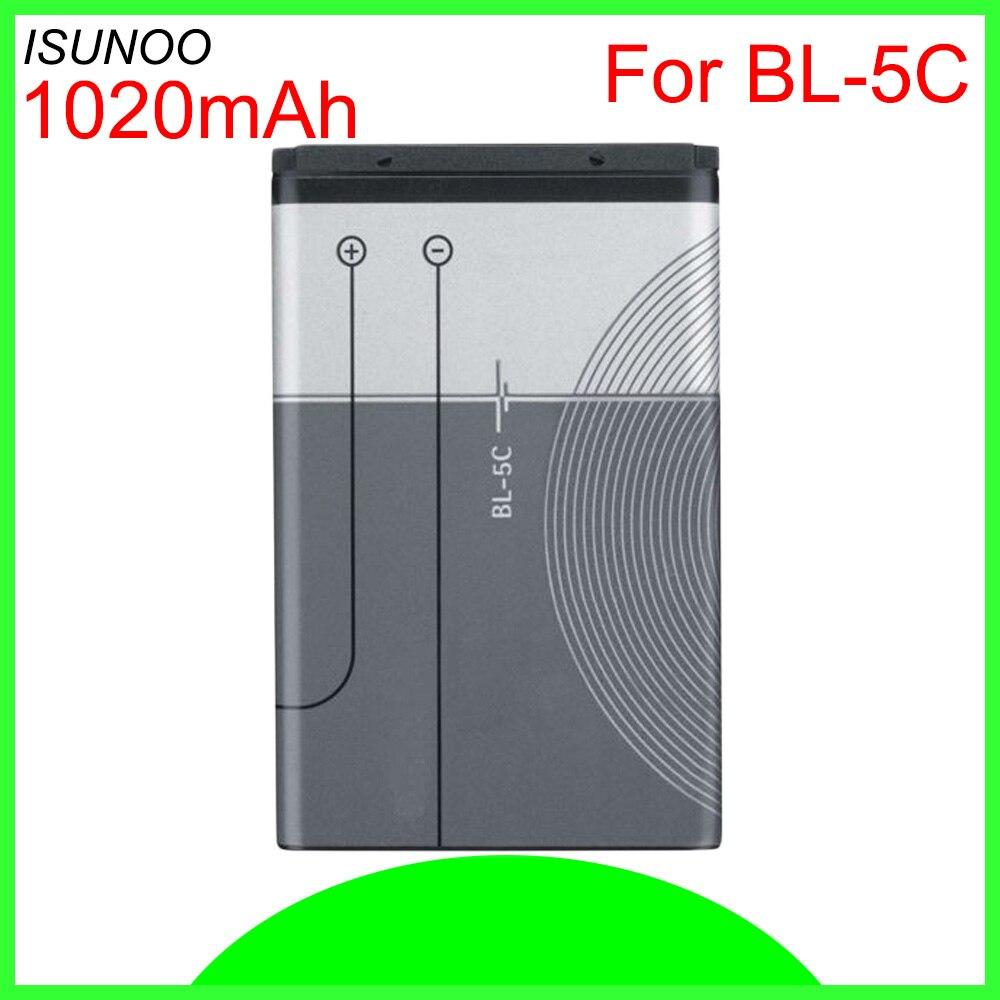 ISUNOO 5 unids/lote BL-5C batería para Nokia C2-06 C2-00 X2-01 1100, 6600, 6230, 5130, 2310, 3100, 6030, 3120, 3650, 6263 7610 BL-5CA BL-5CB