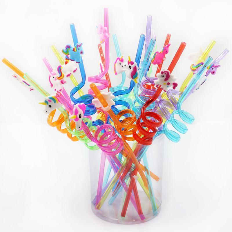 Fournitures de fête licorne pailles en plastique   Fournitures jetables pour fête danniversaire enfants adultes dinosaure sirène 6 pièces