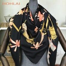 2020 nouveau Design sergé soie écharpe femmes danse fille carré foulards grand Bandana luxe Foulard Hijab écharpe femme tête Foulard