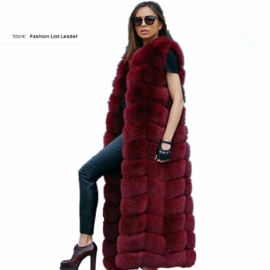 10 pasos 120cm Chaleco de piel mullida más largo de Invierno para mujer Chaleco de piel de zorro sintética de lujo Chaleco de piel de imitación de talla grande de piel sintética para mujer