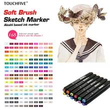 TOUCHFive 168 couleurs unique noir acrylique Art marqueurs double tête alcool croquis marqueurs stylo pour dessin Manga Art fournitures