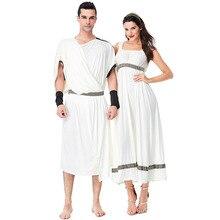 Couples adultes Halloween antique grec romain Toga déesse Costume femme fantaisie guerrier citoyen Cos Robe pour hommes et femmes
