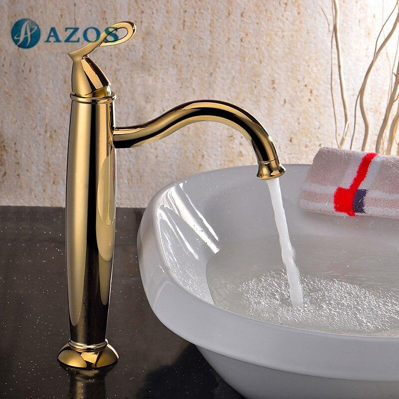 Grifo de lavabo AZOS de Color dorado de latón, montura de cubierta de un solo orificio, mezclador frío caliente, grifo de lavabo, mueble MPDKZ163