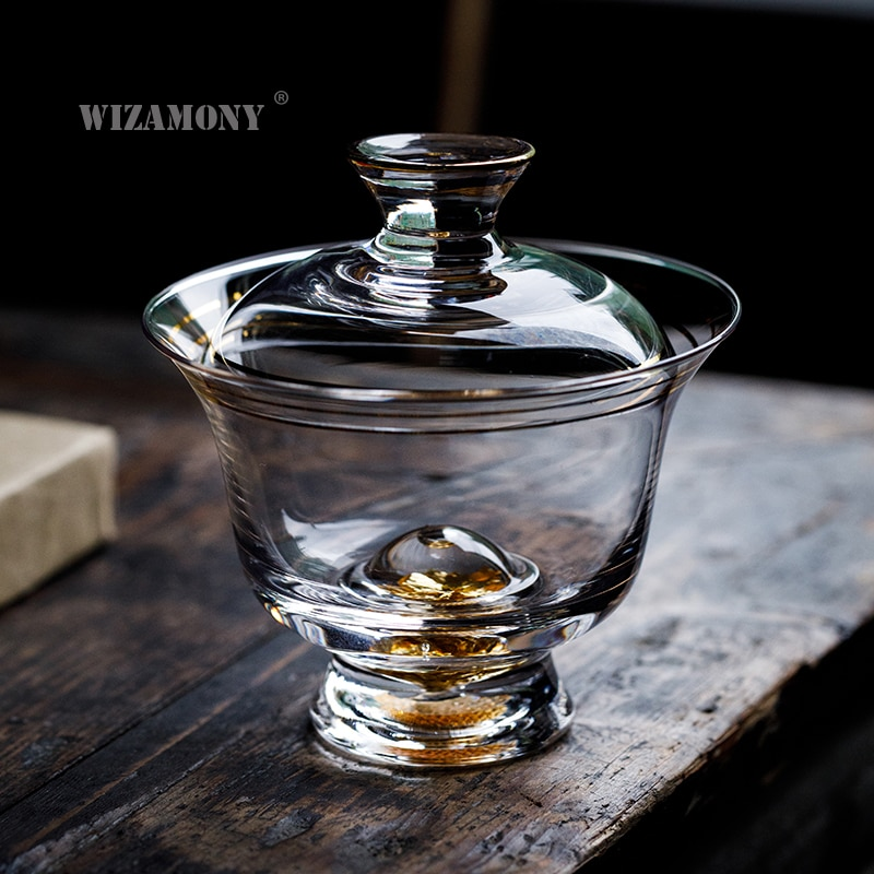 WIZAMONY-طقم شاي كونغ فو ، ذهبي وسميك ، مقاوم للحرارة ، إبريق شاي ، أطقم زجاجية
