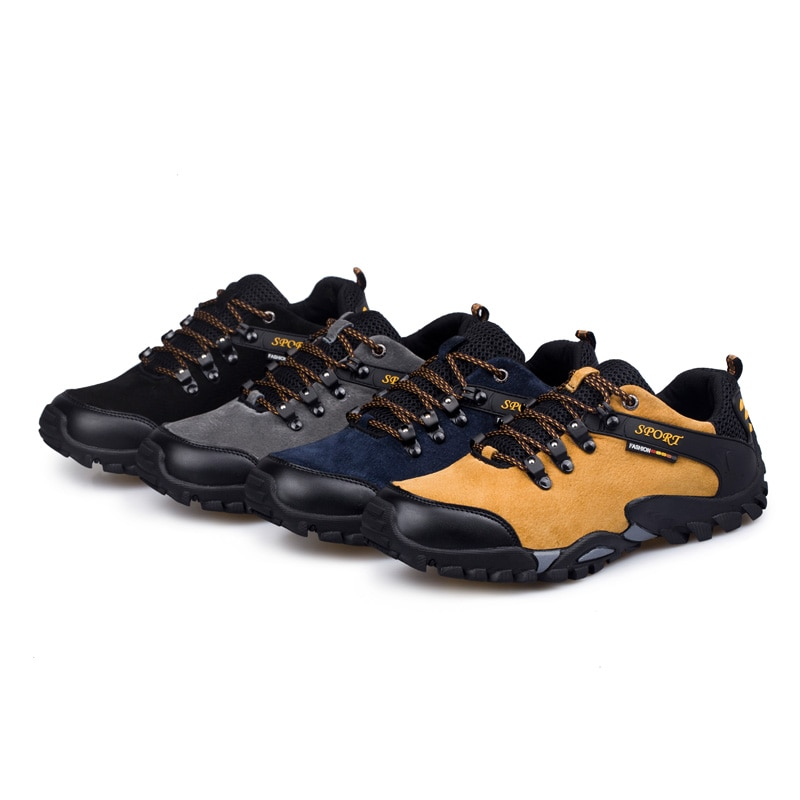 Купить с кэшбэком Light Weight Hiking shoes Men suede leather Climbing Trekking shoes outdoor Mountain walking shoes for Men Sneakers plus size 46