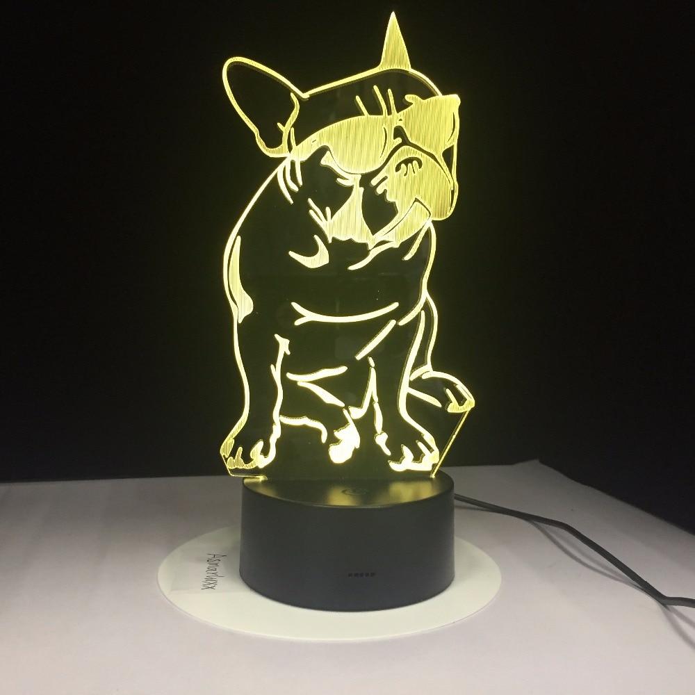 Французский бульдог с солнцезащитным стеклом, 3D светодиодный ночник, декоративная подсветка для собаки, меняющая цвет акриловая лампа, подарок для любителей собак