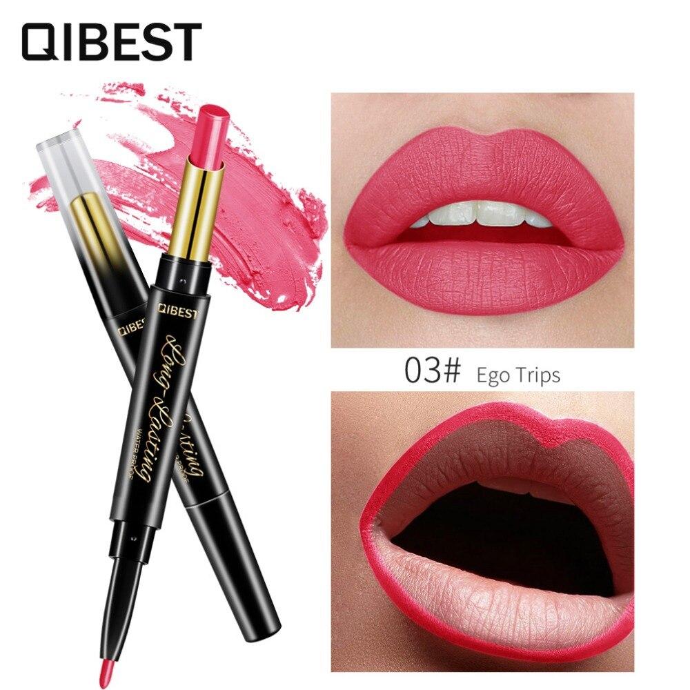 Lápiz labial automático mate Qibest con delineador de labios suave mate crema de labios resistente al agua lápiz labial de larga duración