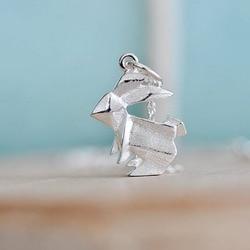 Origami Jóias Charme Pingente de Colar De Prata De Ouro de Coelho Coelho coelho Animais Navio Livre 12 pçs/lote