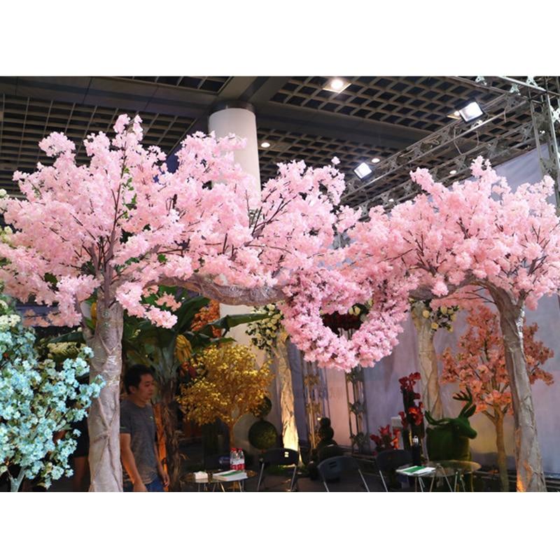 120 cabezas Vertical de seda flor de cerezo artificial de regalo de día de San Valentín decoración de la boda de los árboles falsos ramo de flores